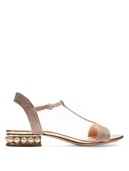 Nicholas Kirkwood Casati Pearl Heeled Lame Sandals Rose Gold