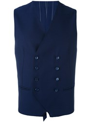 Tagliatore Classic Tailored Waistcoat Men Cupro Virgin Wool 52 Blue