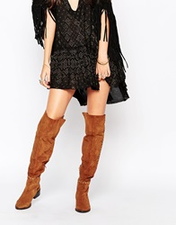 Carvela Will Tan Studded Suede Flat Pull On Over The Knee Boots