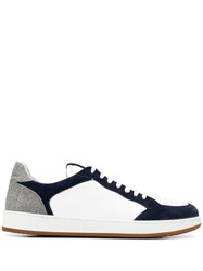 Eleventy Two Tone Low Top Sneakers White