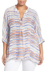 Plus Size Women's Nic Zoe 'Painted Ombre' Split Neck Tunic