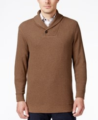 Tasso Elba Men's Big And Tall Honeycomb Textured Shawl Collar Sweater Only At Macy's Dillseed Heather