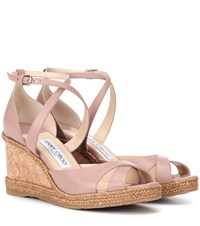 Jimmy Choo Alanah 80 Leather Wedge Sandals Pink