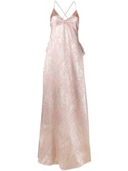 Rochas Brocade Silk Evening Dress Women Silk Polyester 44 Pink Purple