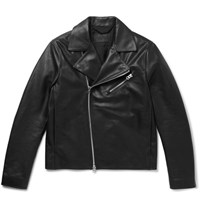 Acne Studios Axl Slim Fit Suede Panelled Leather Jacket Black