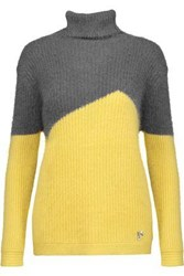 Versace Two Tone Ribbed Knit Turtleneck Sweater Yellow