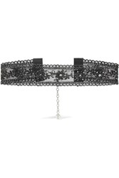 Chan Luu Crystal Embellished Metallic Lace Choker Black