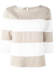 Barba Striped Three Quarter Sleeve Top White