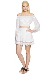 Charo Ruiz Off The Shoulder Voile And Lace Crop Top