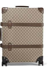 Gucci Globe Trotter Medium Leather Trimmed Coated Canvas Suitcase Brown