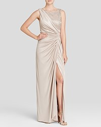 Adrianna Papell Sleeveless Lace And Matte Jersey Gown Champagne