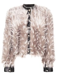 Patrizia Pepe Furry Cropped Jacket Nude And Neutrals