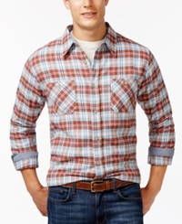 Weatherproof Long Sleeve Plaid Brushed Flannel Shirt Orange