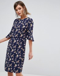 Oasis Lotus Bird Flute Sleeve Dress Longer Line Navy