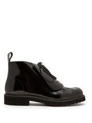 Loewe Lace Up Leather Boots Black
