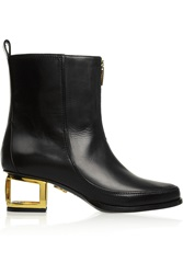 Maiyet Cutout Heel Leather Ankle Boots Black