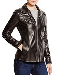 Marc New York Leather Jacket With Quilted Trim Black