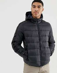 Armani Exchange Hooded Puffer Jacket With Taped Sleeves In Black