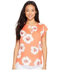 Ivanka Trump Over Sized Floral Cap Sleeve Top Coral Ivory Women's Short Sleeve Pullover Orange
