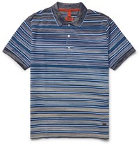 Missoni Striped Knitted Cotton Polo Shirt Blue