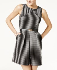 Amy Byer Bcx Juniors' Striped Dress With Belt Black White