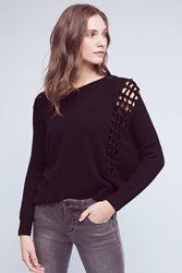 Anthropologie Latticed Cashmere Sweater Black
