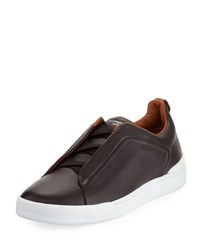 Ermenegildo Zegna Couture Triple Stitch Leather Low Top Sneaker Espresso