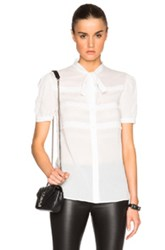 Saint Laurent Short Sleeve Ruffle Blouse In White