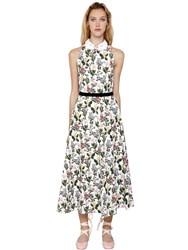 Vivetta Floral Printed Cotton Poplin Midi Dress