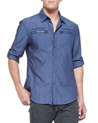 John Varvatos Double Zip Pocket Shirt Marine