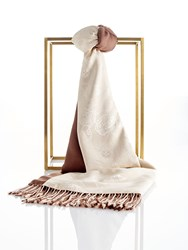 Shanghai Tang Lucky Charms Silk Pashmina Shawl With Tassel Brown Linen