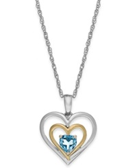 Macy's Blue Topaz Heart Pendant Necklace In 14K Gold And Sterling Silver 1 2 Ct. T.W.