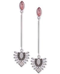 Guess Silver Tone Crystal And Stone Linear Drop Earrings Silver Peach
