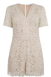 Oasis Lace Playsuit Off White