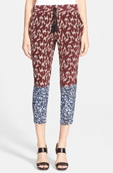 Elizabeth And James 'Shelton' Print Silk Capris Black Cherry Mineral Blue
