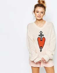 Wildfox Couture Wildfox King Of Hearts V Neck Jumper White