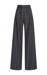 Carolina Herrera Wide Legged Checkered Trousers Grey