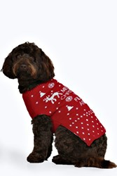 Boohoo Merry Xmas Ya Filthy Animal Dog Jumper Red