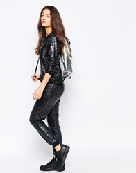 Jaded London Holographic Sequin Joggers Black
