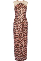 Just Cavalli Sequined Printed Mesh Maxi Dress Pink