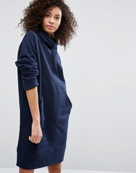 Monki High Neck Sweat Dress Navy Blue