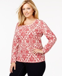 Karen Scott Plus Size Long Sleeve Printed Top Only At Macy's