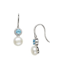 Lord And Taylor Sterling Silver Fresh Water Pearl And Topaz Earrings Blue