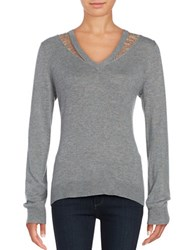 T Tahari Lace Trimmed V Neck Sweater Grey