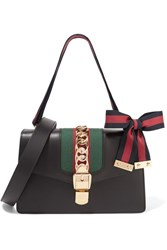 Gucci Sylvie Small Chain Embellished Leather Shoulder Bag Black
