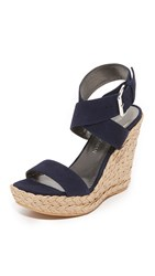 Stuart Weitzman X Ray Wedge Sandals Nice Blue