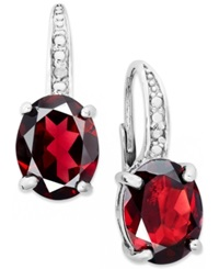 Victoria Townsend Sterling Silver Earrings Garnet 5 1 2 Ct. T.W. And Diamond Accent Leverback Earrings