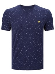 Lyle And Scott Allover Paint Dot T Shirt Navy