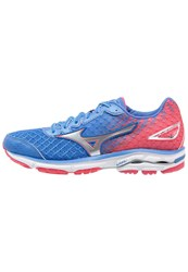 Mizuno Wave Rider 19 Cushioned Running Shoes Palace Blue Silver Diva Pink