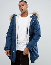 Hunter Original Insulated Parka With Faux Fur Hood And Removable Fleece Lining In Navy